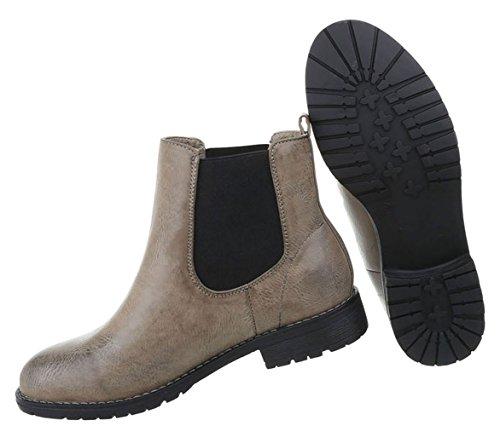 Damen Schuhe Stiefeletten Used Optik Boots Modell Nr.1 Grau
