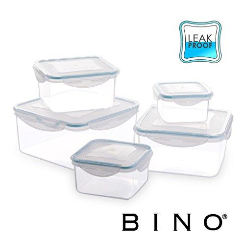 ce Square Leak-Proof Plastic Snap Lock Food Storage Container Set with Lids, Light Blue ()