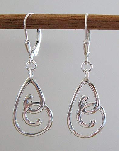 Sterling Silver Swirl Teardrop Earrings - 925 Lever-Backs ()