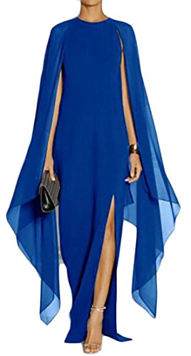 Womens Solid Ballgown Bat Chiffon Maxi Side Dress Slit Cruiize Blue Splice Sleeve Royal FnfZq66