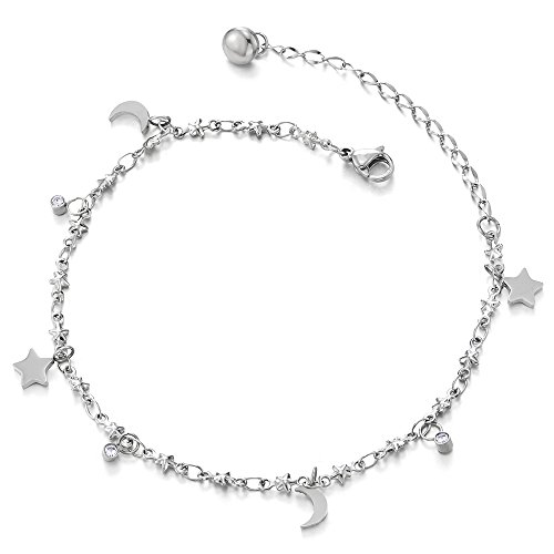 COOLSTEELANDBEYOND Anklet Bracelet in Stainless Steel with Dangling Charms of Stars, Crescent Moons and Cubic Zirconia (Dangling Star Anklet)