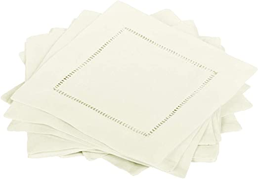 Amazon Com Bumblebee Linens 12 Ivory Linen Cocktail Napkins 6 X 6 Inch Hemstitch Small Cloth Beverage Party Bar Coffee Dessert Wedding Napkin Coaster Everything Else