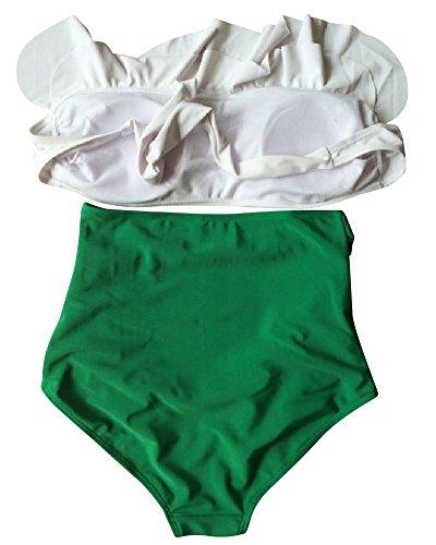 Mujeres Retro Cintura Alta Push Up Bikini Traje De Baño Como la imagen