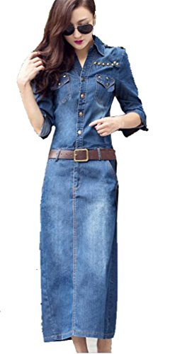 Allonly Women's Long Sleeve Slim Fit Long Button Rivet Denim Jean Maxi Dress