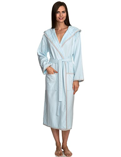 - TowelSelections Women's Robe, Cotton Lined Hooded Terry Bathrobe Small/Medium Aquamarine