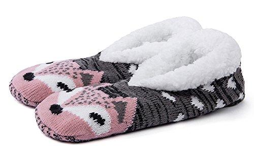 Maamgic Kvinners Fuzzy Jule Dyr Huset Tøfler Damene Søt Roms Innendørs Strikke Vinter Tøfler Rosa