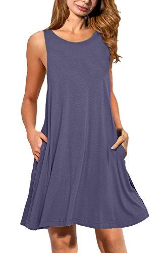 AUSELILY Sleeveless Pockets T shirt Dresses