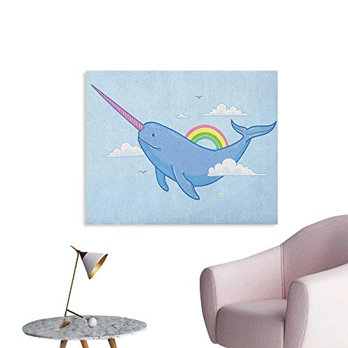 Anzhutwelve Narwhal Poster Wall Decor Abstract Fantastical Whale with Horn Flying in The Sky Among Clouds and Rainbow The Office Poster Multicolor W28 xL20 ()