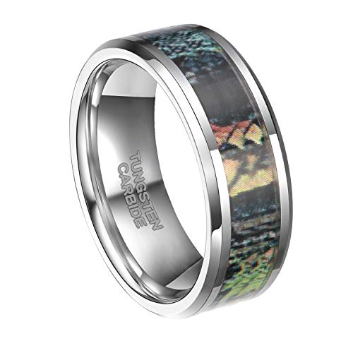 - 8mm Tungsten Wedding Rings Summer Leaves Camouflage Inlay Hunting Comfort Fit Band(10)