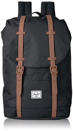 Herschel Kids' Retreat Youth Children's Backpack, Black/Saddle Brown, One Size