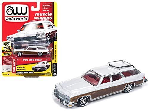 Buick Station Wagon - Auto World 1975 Buick Estate Wagon Sand Gloss White Woodgrain Muscle Wagons Limited Edition to 4,800 Pieces Worldwide 1/64 Diecast Model Car 64192/AWSP013B