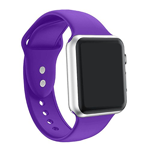Large Product Image of ic6Space Apple Watch Band, Premium Soft Silicone Sports Replacement Strap for Apple Watch Series 3 Series 2 Series 1,38mm or 42mm(Purple, 42mm-s/m)