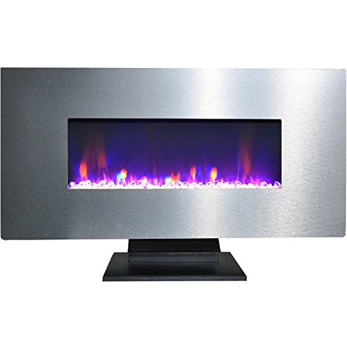 Cambridge CAM42WMEF-1SS 42 In. Metallic Electric Fireplace in Stainless Steel with Multi-Color Crystal Rock (Cambridge Electric Fireplace)