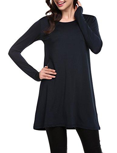 SE MIU O-Neck Long Sleeve Striped Casual Long Tunic Top Basic Women - On Sale Miu Miu
