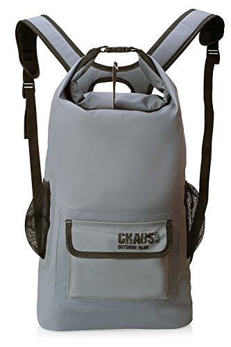 Chaos Ready | Waterproof Backpack - Durable Heavy Duty Dry Bag | W/Padded Shoulder Straps and 2 Mesh Side Pockets | Designed for Hiking, Travelling and Kayaking for Men and Women | 22L, Grey |