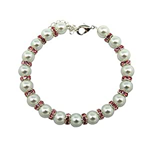 Anima White Glass Pearl with Pink Rhinestone Rings Pet Necklace, 6-8""