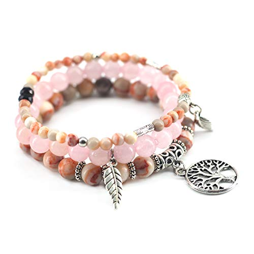 (3 Pcs Pink Bead Bracelet Friendship Yoga Charm Bracelet Boho Leaf Tree of Life Stretch Bracelet Cute Stackable Wrap Bracelet Set for Women Girl)