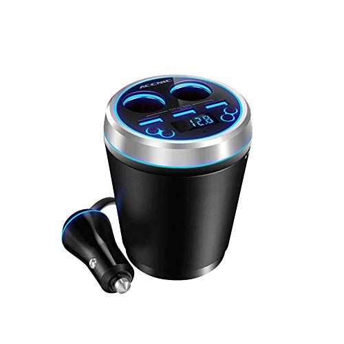 3 USB Car Charger + 2 Socket Cigarette Lighter Splitter Power Adapter with LED Voltmeter Hands-Free Calling for Phone Dash Cam,Black