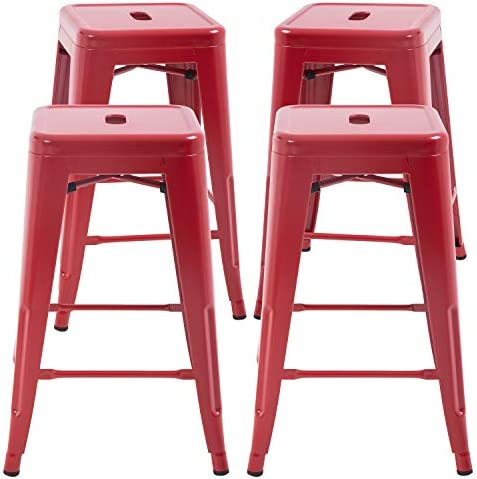 FDW Metal Bar Stools Set of 4 Counter Height Barstool Stackable Barstools 24 Inch 30 Inch Indoor Outdoor Patio Bar Stool Home Kitchen Dining Stool Backless Bar Chair Red, 24