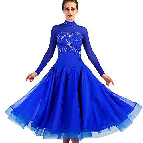 garuda 社交ダンスドレス  ダンス衣装 モダン ダンスウェアロングワンピース 青色 サイズオーダー可 B07JK168LY  青色 XXL