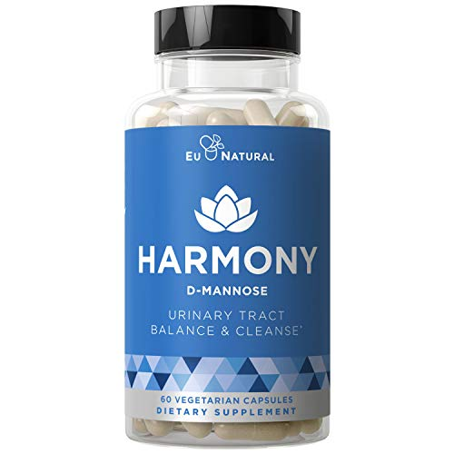 Harmony D-Mannose - Urinary Tract UT Cleanse & Bladder Health - Fast-Acting Detoxifying Strength, Flush Impurities, Clear System - Hibiscus Pills - 60 Vegetarian Soft Capsules from Eu Natural