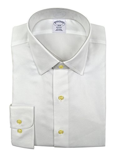 (Brooks Brothers Men's Textured Regent Fit Non Iron Dress Shirt White (15