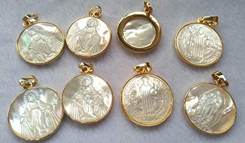 25mm Genuine Shell Beads wtih Loop Gold Plated Natural Mother of Pearl Shell Virgin Mary Round Pendant Jewelry Making 6pcs