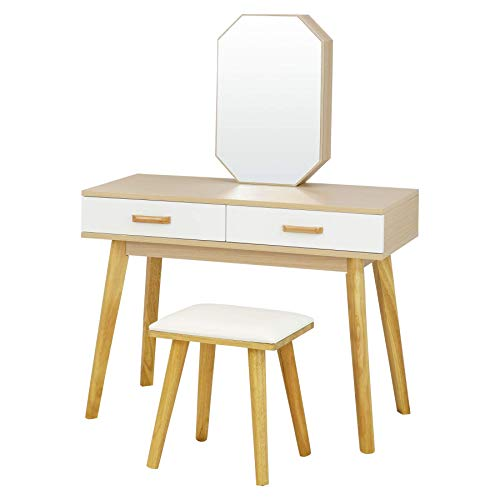 Fineboard FB-VT19-BNW Vanity Table Set with Stool and Jewelry Cabinet with Mirror and 2 Shelves, Natural/White