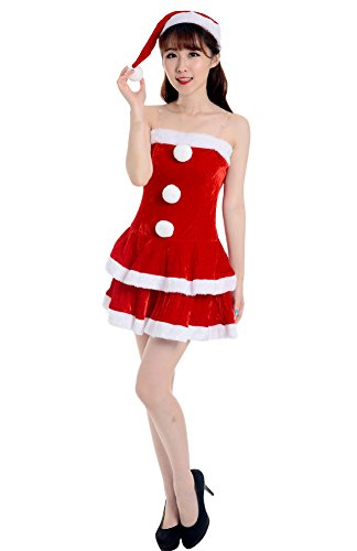 [Womens Party Club Velvet Santa Christmas Costume Red] (Cute Santacon Costume Ideas)