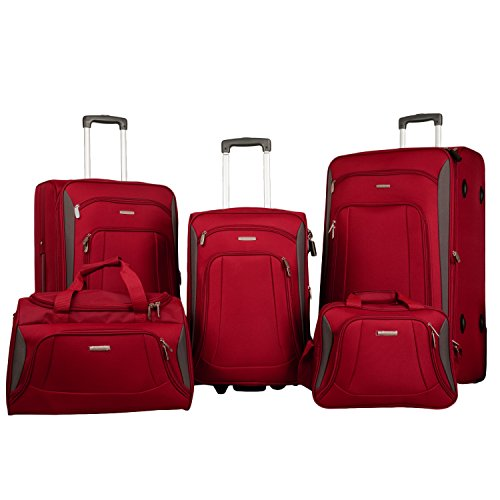Merax Newest Softshell Deluxe Expandable Rolling Luggage Set,  Red/Black,  5 Piece by Merax