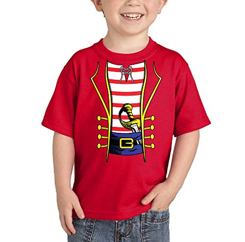 Pirate Costume - Swashbuckler Buccaneer Infant/Toddler Cotton Jersey T-Shirt (Red, 18 Months) -