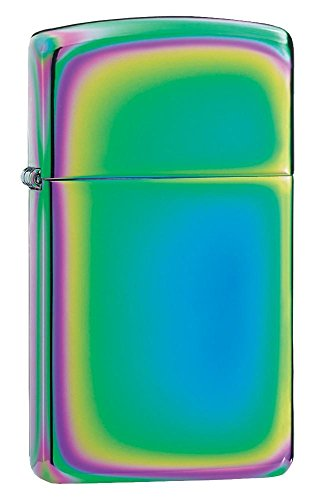 Personalized Message Engraved Customized Slim Size Zippo Indoor Outdoor Windproof Lighter (Spectrum) (Personalized Zippo Spectrum Lighter)