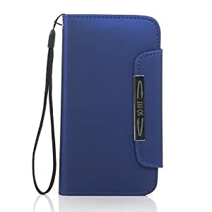 Supernice(TM) Leather Flip Wallet Case with Credit/ID Card Slot for Samsung Galaxy S3 i9300/SC-08D - Blue