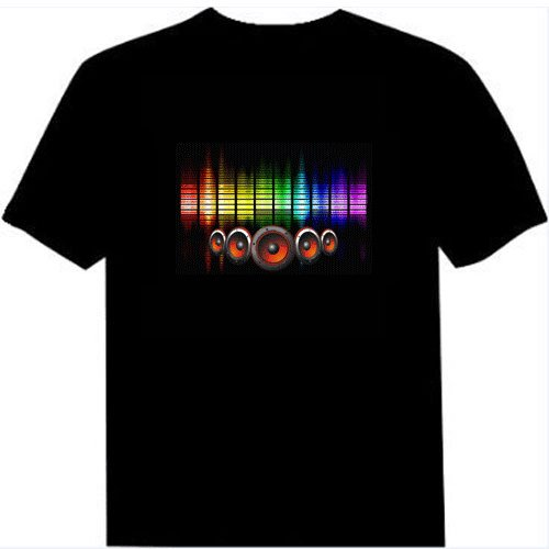 (Tricandide Adult Couple LED Flashing Audio Control T-Shirt Night Club Wear, Colorful Horn, XL)