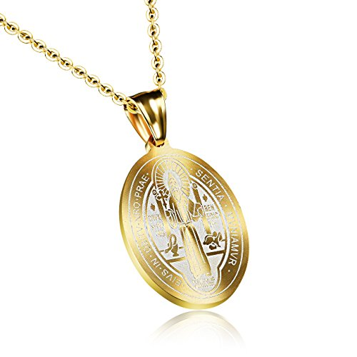 INSEA Unisex Mens Womens St Saint Benedict Exorcism Stainless Steel Medal Medallion Pendant Catholic Cross Necklace Gold Tone -