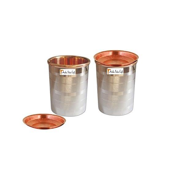 Prisha India Craft Steel Copper Glass Tumbler, Luxury Design, Capacity 250 ML, Set of 2