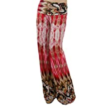 Sugar Rock Junior Paisley Floral Yoga Pants Palazzo Fold-Over Waist Wide Leg in Red