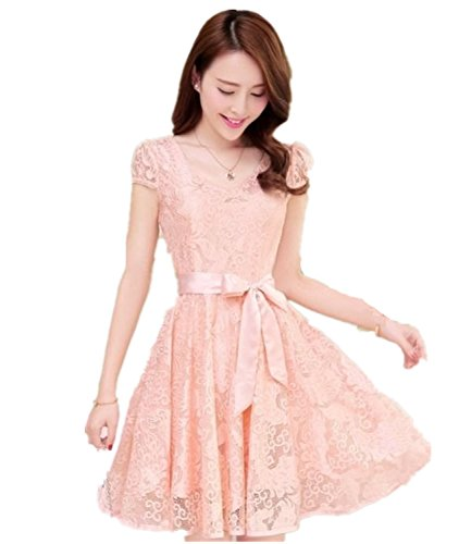Summer Womens Slim Chiffon Lace Party Evening Cocktail Casual Dress (XXL (US M) Pink)