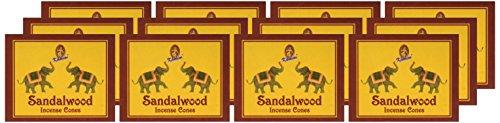 Kamini Cones Incense Case, Sandalwood, 12 Piece - incensecentral.us