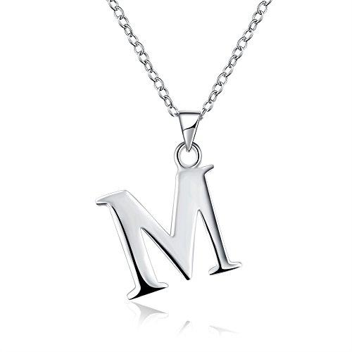MMTTAO DIY 26 Letters Charm Pendants Necklaces Women Clavicle Chain Necklace Letter Initial Chain Necklace - Letter M