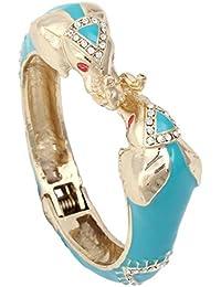 Austrian Crystal Blue Enamel Classic 2 Elephant Animal Bangle Bracelet Clear Gold-Tone