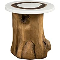 East at Main Numa Brown Round Teakwood Accent Table, (20x20x19)