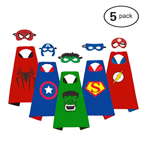 Angel Kiss 5 Packs Super Heros Dress up Costumes Cartoon Satin Capes Set with Felt Mask for Kids Boys - Birthday Party Christmas Halloween Supplies -