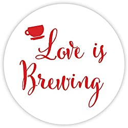 Love Is Brewing Wedding Stickers, Favors for Tea, Coffee or Beer (#095-RD)