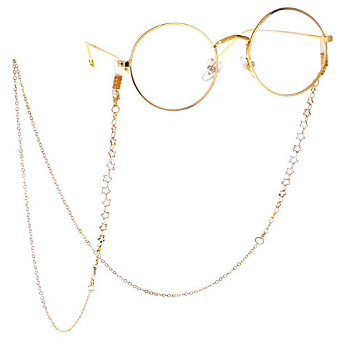 LUFF Anti-Skid Reading Glasses chain Glasses Strap retro metal chain sunglasses glasses holder (Gold)