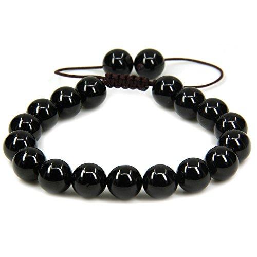 Natural A Grade Black Tourmaline Gemstone 10mm Round Beads Adjustable Braided Macrame Tassels Chakra Reiki Bracelets 7-9 inch Unisex