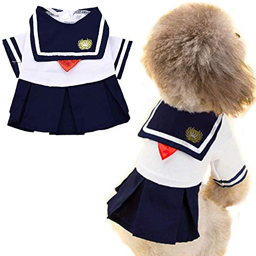 ANIAC Pet Navy Captain Suit Sailor Costume Student Uniform with Red Bow-Knot Cute Skirt Warm Clothes for Cats and Dogs (Medium) ()