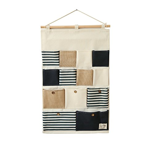 Yamde Linen/Cotton Fabric 13 Pockets Wall Door Closet Hanging Storage bag organizer - Kenneth Bedroom Collection