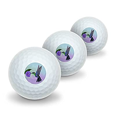 GRAPHICS & MORE Hummingbird Crowned Woodnymph Purple Violet Novelty Golf Balls 3 Pack