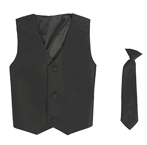 Vest and Clip On Boy Necktie set - BLACK - 6/7 ()